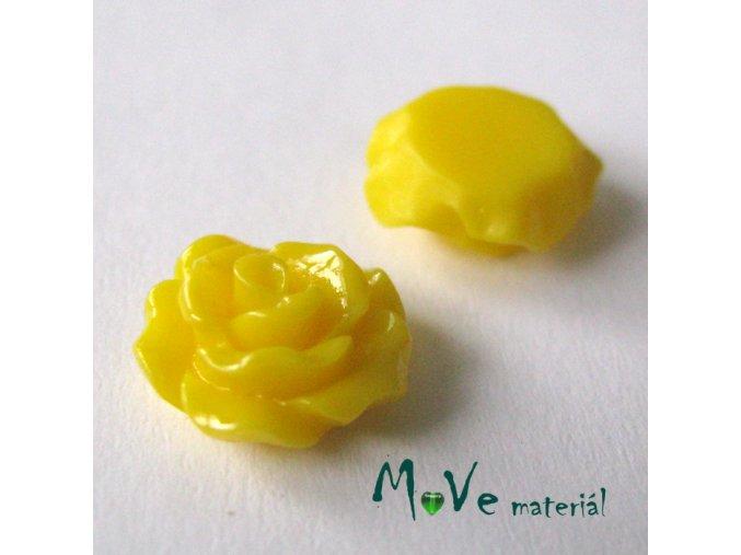 Kabošon růžička lesklá D2 - resin - 2ks, žlutá