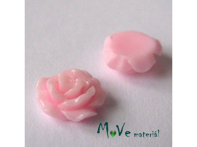 Kabošon růžička lesklá D2 - resin - 2ks, sv.růžová