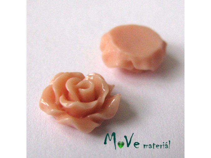 Kabošon růžička lesklá D2 - resin - 2ks, starorůžová