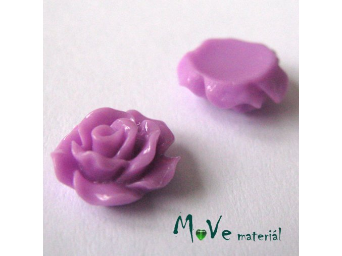 Kabošon růžička lesklá D2 - resin - 2ks, růžovofialová