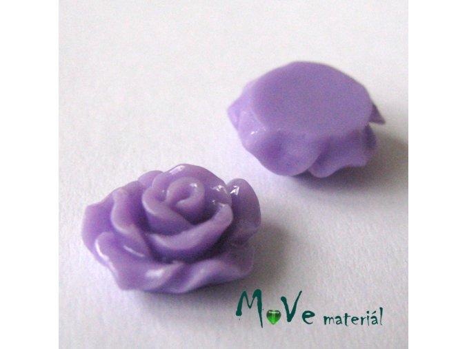 Kabošon růžička lesklá D2 - resin - 2ks, fialová