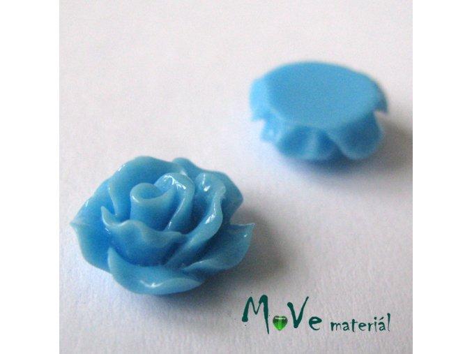 Kabošon růžička lesklá D2 - resin - 2ks, sv. modrá