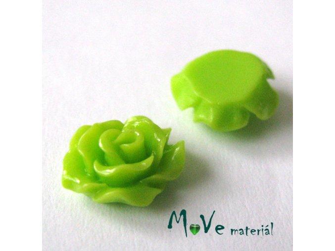 Kabošon růžička lesklá D2 - resin - 2ks, sv. zelená
