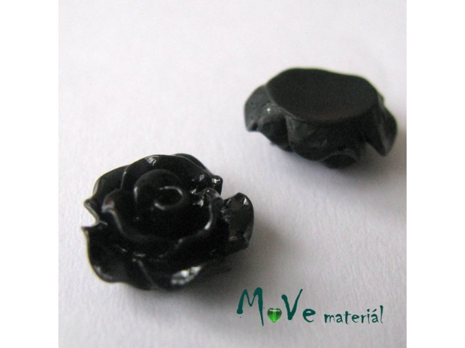 Kabošon růžička lesklá D2 - resin - 2ks, černá