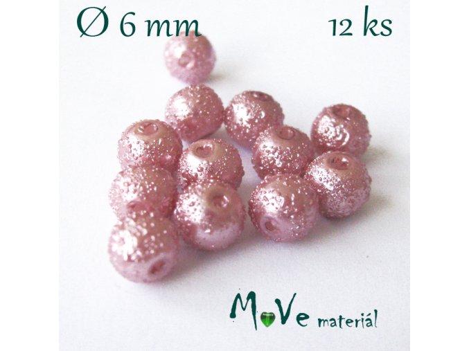 """Voskové perle """"Zigana"""" 6mm, 12ks, starorůžová"""