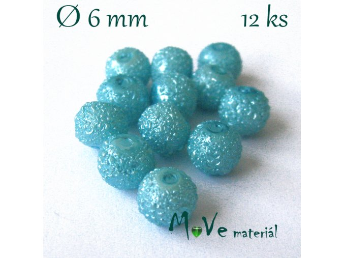 """Voskové perle """"Zigana"""" 6mm, 12ks, tyrkysová"""