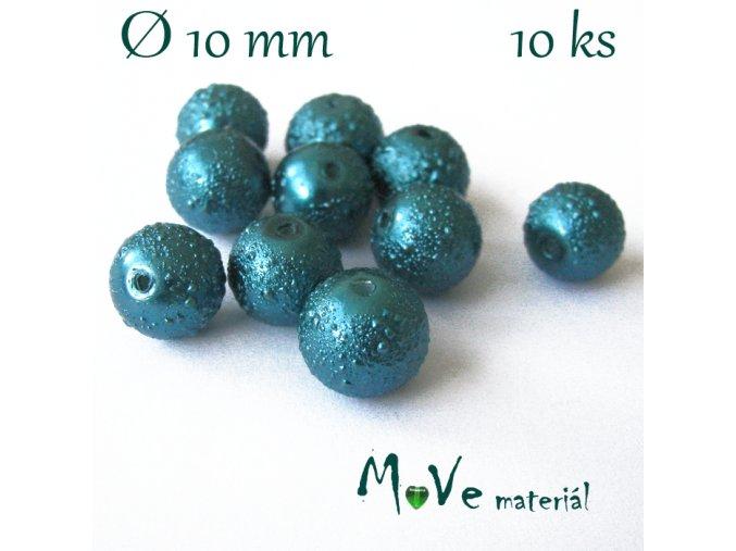 """Voskové perle """"Zigana"""" 10mm, 10ks, tm. tyrkysová"""