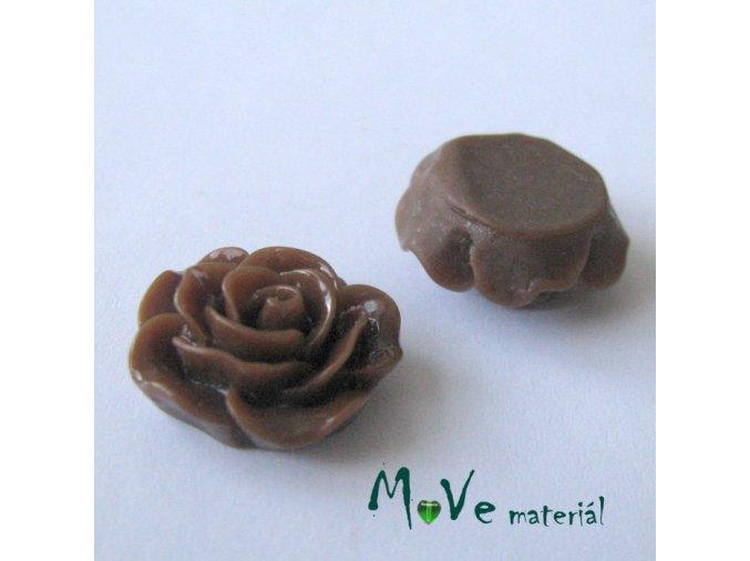 Kabošon růžička lesklá D3 - resin - 2ks, hnědá