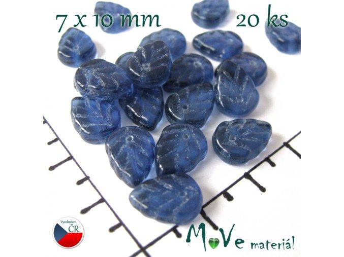 České skleněné lístečky 7x10 mm 20 ks, modré