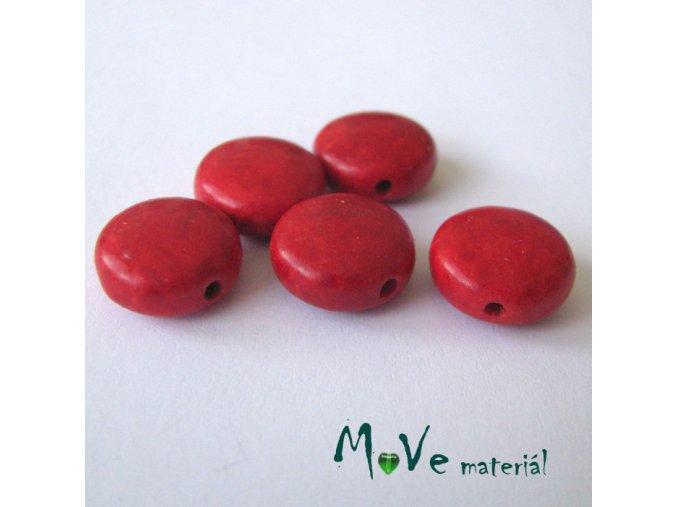 Howlitová placka 12x6mm, 5ks, červená