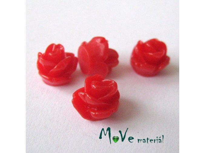 Kabošon růžička lesklá D4 - resin - 4ks, červená