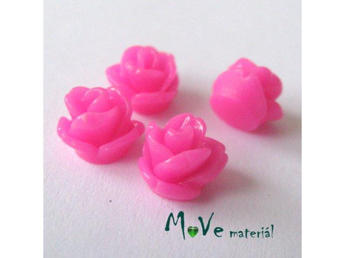 Kabošon růžička lesklá D4 - resin - 4ks, tm. růžová