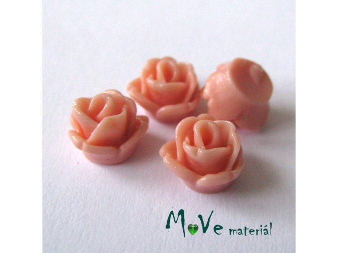 Kabošon růžička lesklá D4 - resin - 4ks, starorůžová