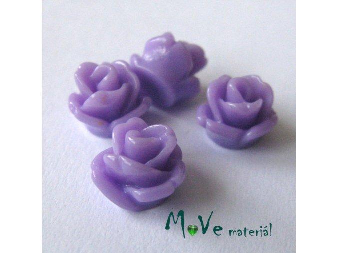 Kabošon růžička lesklá D4 - resin - 4ks, fialová