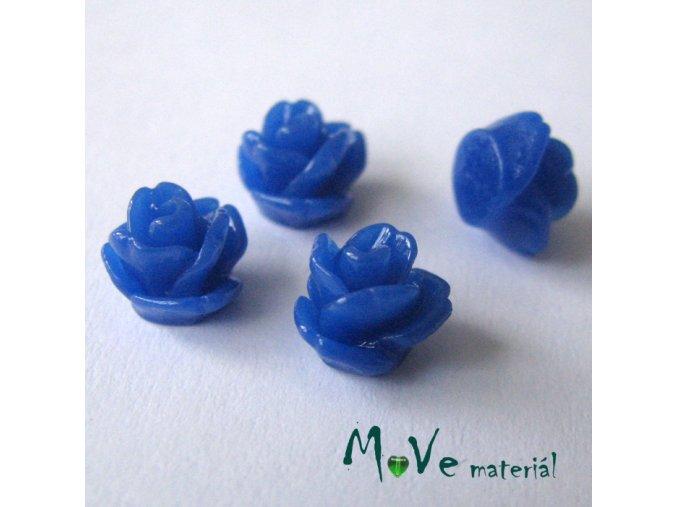 Kabošon růžička lesklá D4 - resin - 4ks, tm. modrá
