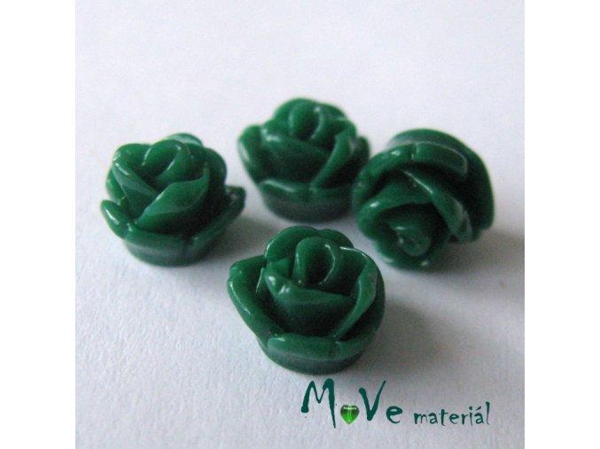 Kabošon růžička lesklá D4 - resin - 4ks, tm. zelená