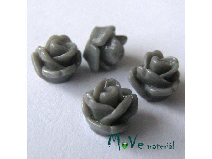 Kabošon růžička lesklá D4 - resin - 4ks, šedá