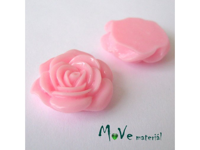 Kabošon růže lesklá D5 - resin - 2ks, růžový