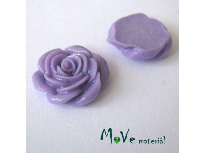 Kabošon růže lesklá D5 - resin - 2ks, sv. fialový