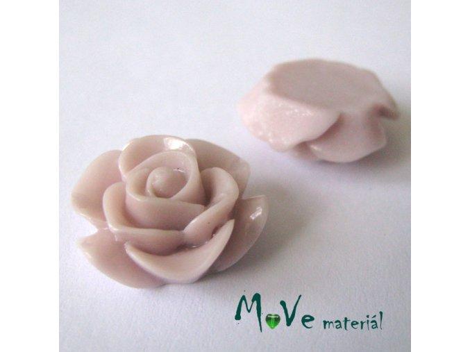 Kabošon růže lesklá D6 - resin - 2ks, starorůžový