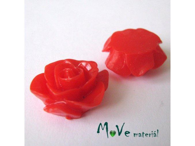 Kabošon růže lesklá D6 - resin - 2ks, červený