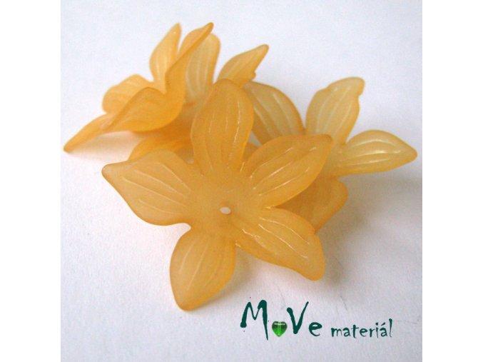 Akrylový květ 27x7mm, 4ks, oranžový