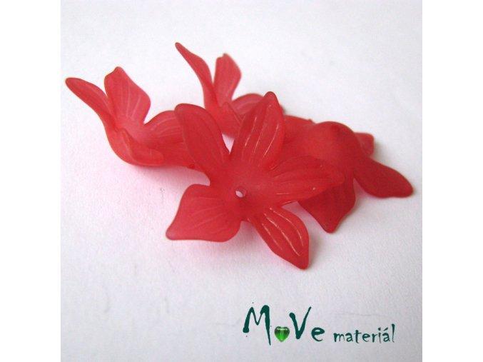 Akrylový květ 27x7mm, 4ks, červený
