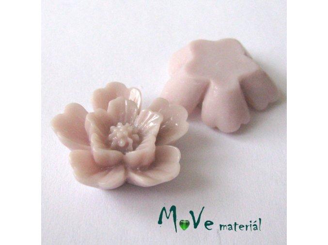Kabošon květ lesklý - resin - 2ks, starorůžový