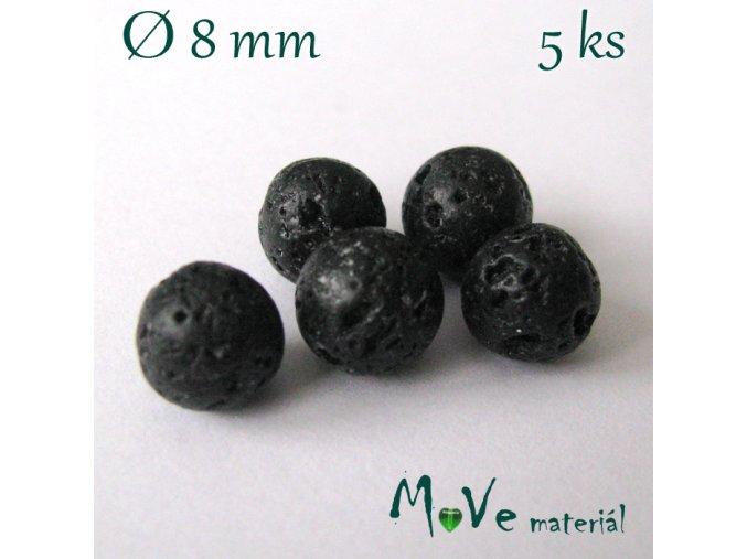 Lávový korálek kulička cca 8mm, 5ks
