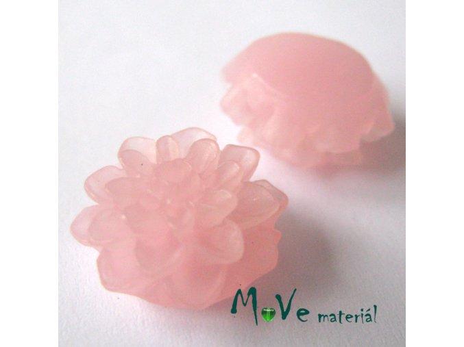 Kabošon květ transparentní A6 - resin - 2ks, světlý růžový