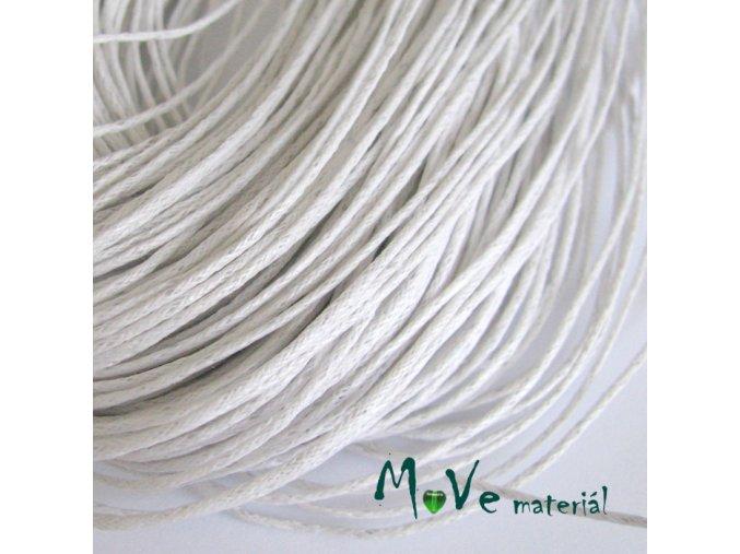 Šňůra voskovaná bavlněná 1mm, 3m, bílá