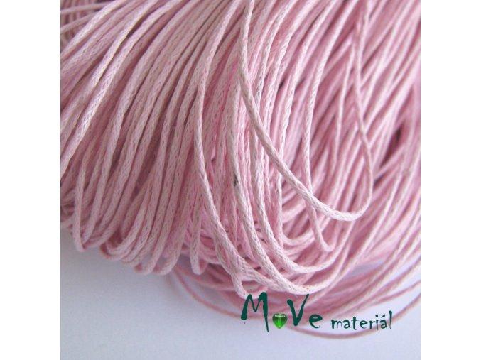Šňůra voskovaná bavlněná 1mm, 3m, růžová
