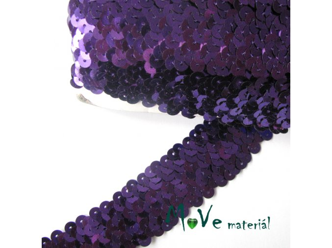Prýmek šíře 30mm elastický s flitry, 0,5m, fialový