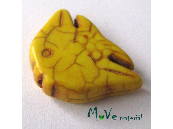Tyrkenitová ryba 20x29x7mm, 1ks, žlutá
