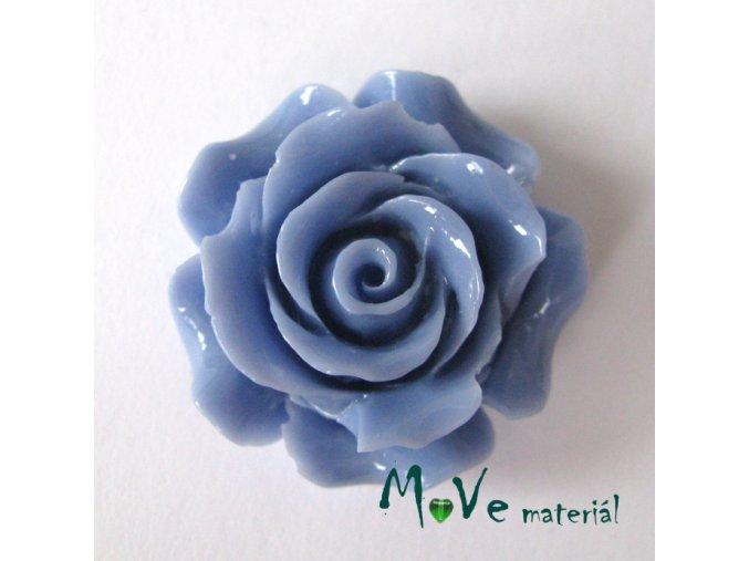 Kabošon květ lesklý resin/1ks/modrý/ II. jakost