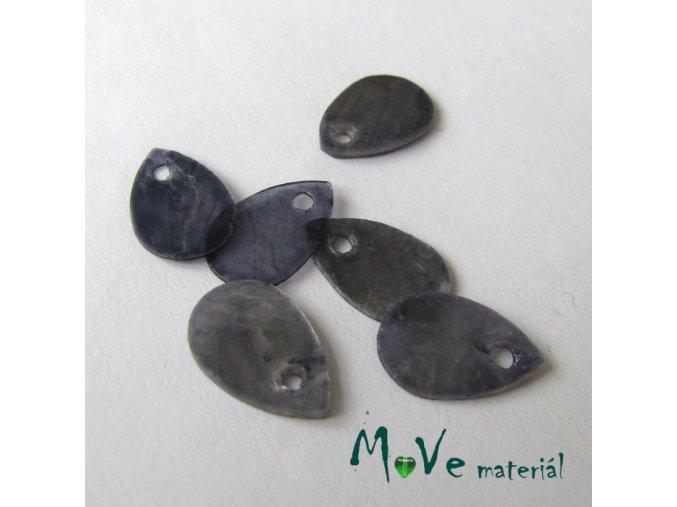 Perleťové penízky kapičky 13x9mm, 6ks, šedé