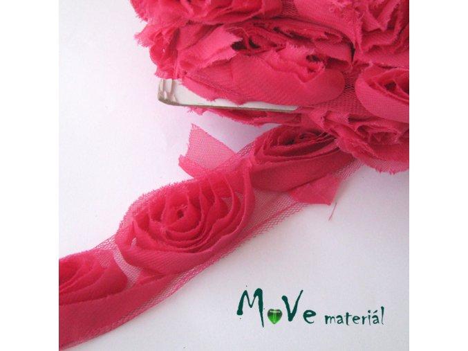 Prýmek na monofilu 50mm, 0,5m, tm. růžový