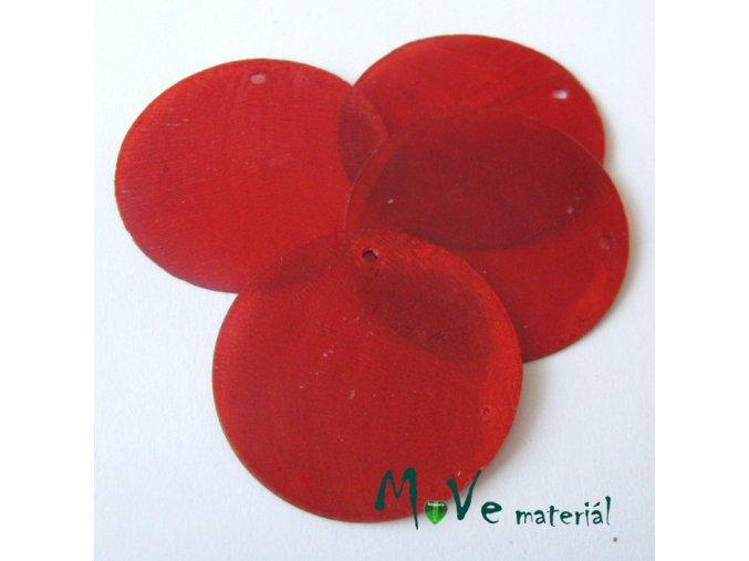 Perleťové penízky 30mm, 4ks, červené