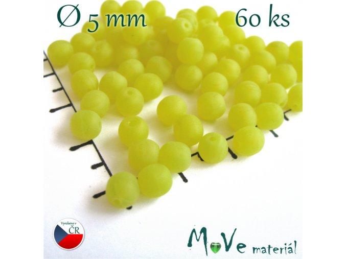 České skleněné žluté matné kuličky 5mm 60 ks