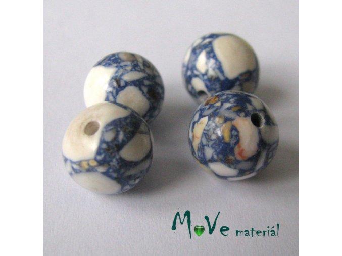 Korálky Marble modrobílé 10mm 4ks