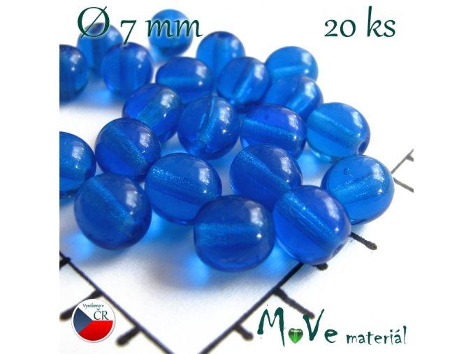 České skleněné modré kuličky 7 mm 20 ks