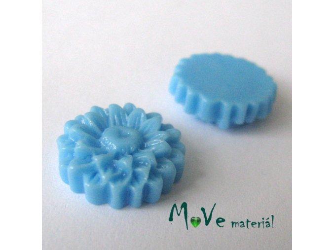 Kabošon květ lesklý D7 - resin - 2ks, modrý