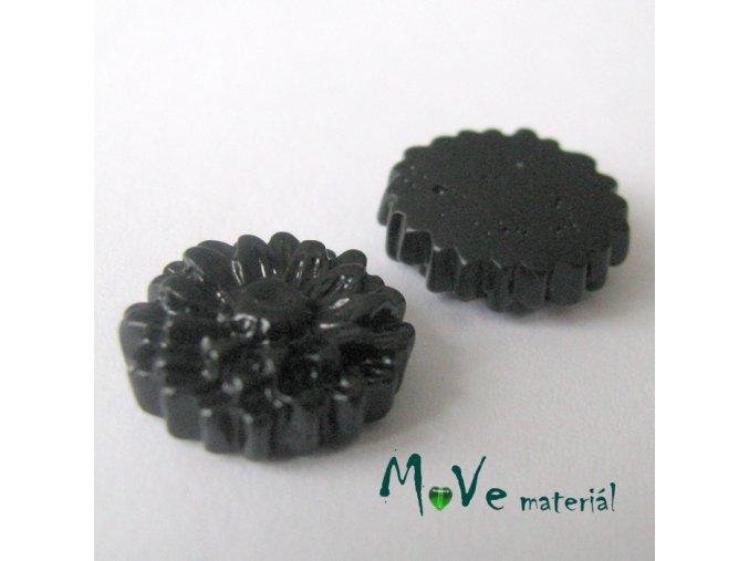 Kabošon květ lesklý D7 - resin - 2ks, černý