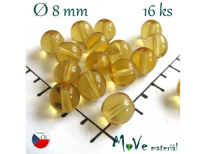 České skleněné žluté kuličky 8 mm 16 ks