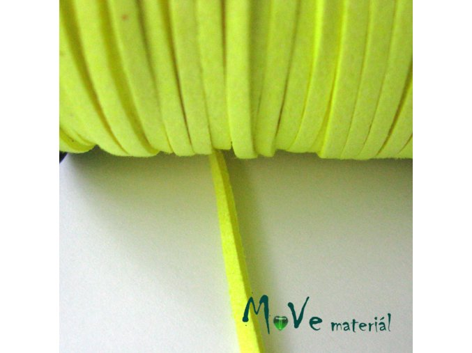 Plochá syntetická kůže - NEON, 1m, žlutá