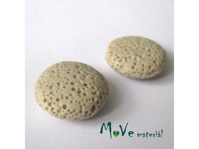 Lávový korálek placka cca 20mm, 1ks, béžový