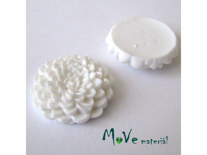 Kabošon květ lesklý D8 - resin - 1ks, bílý