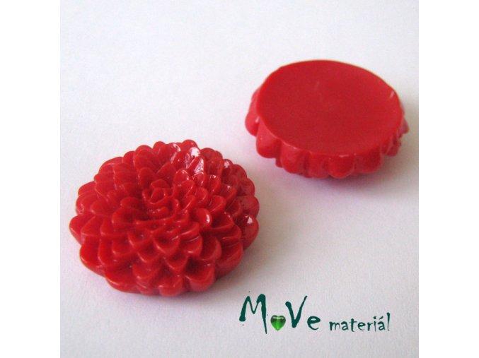 Kabošon květ lesklý D8 - resin - 1ks, červený