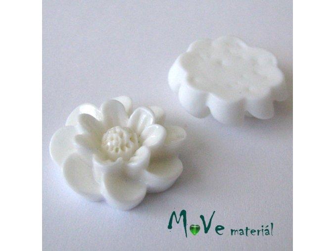 Kabošon květ lesklý F2 - resin - 2ks, bílý