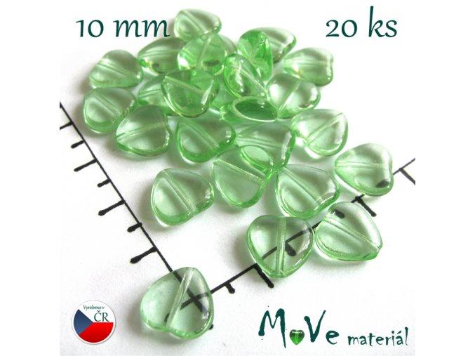 Česká skleněná zelená srdíčka 10 x 10mm 20ks